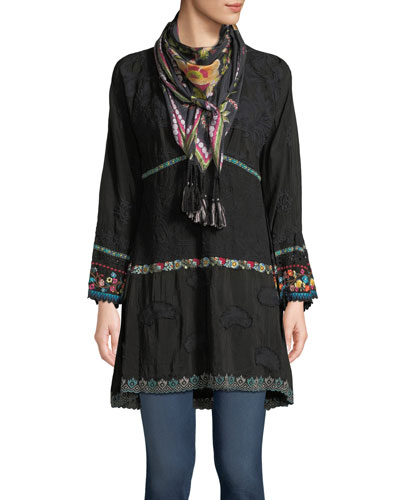 Ridden Contrast-Trim Tiered Tunic and Matching Items