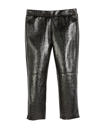 Faux-Leather Front Panel Leggings, Size 4-7  and Matching Items