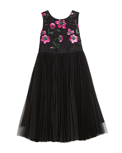 Tulle & Floral Embroidered Dress, Size 4-7  and Matching Items