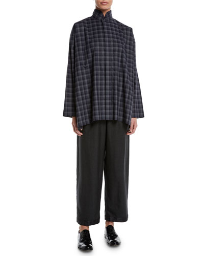 Plaid Two-Collar Button-Front Cotton Blouse and Matching Items