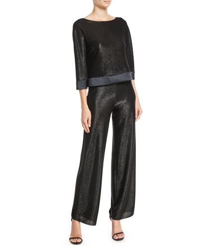 Scoop-Neck 3/4-Sleeve Metallic-Mesh Jersey Top and Matching Items