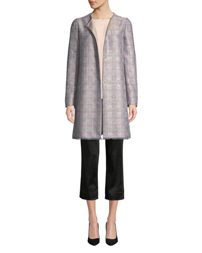 Frayed-Trim Multi-Tweed Topper Coat and Matching Items