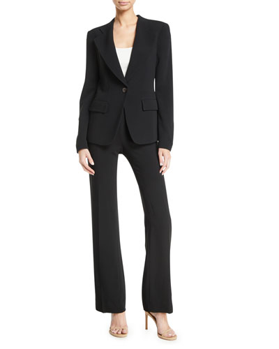 Notched-Lapels One-Button Cady Jacket w/ Ruched Back Detail and Matching Items