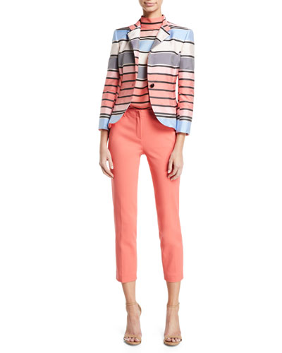One-Button 3/4-Sleeve Multicolor Awning-Stripe Taffeta Jacket and Matching Items