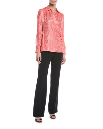 Leopard-Print Crisscross Fluid Silk Jacquard Blouse and Matching Items