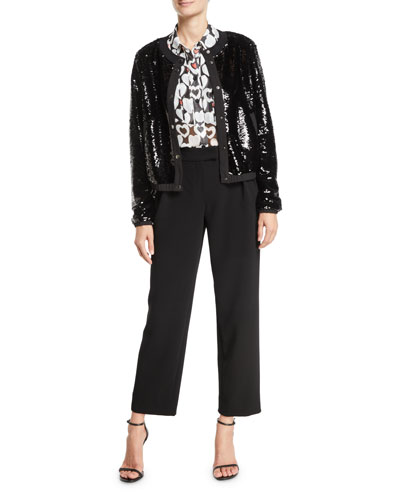 Button-Front Sequin Blouson Jacket and Matching Items