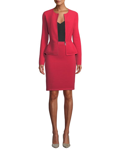 Ottoman Ribbed Zip-Front Peplum Jacket and Matching Items