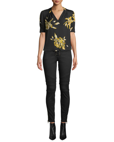 Ance Short-Sleeve Floral Silk Top and Matching Items