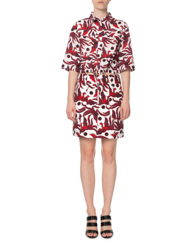 Cropped Phoenix-Print Short-Sleeve Top and Matching Items