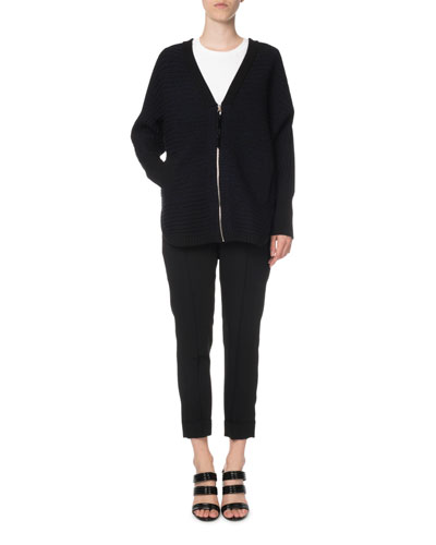 Zip-Front Logo Jacquard Dolman-Sleeve Cardigan and Matching Items