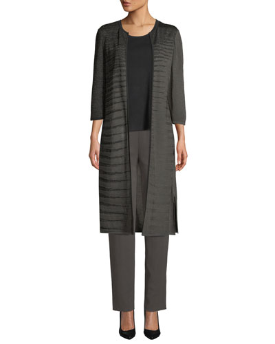 3/4-Sleeve Shimmered Long Jacket, Plus Size and Matching Items