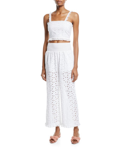Romy Smocked Ruffle Eyelet Crop Top and Matching Items