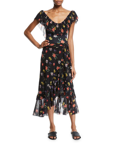 Faux-Wrap Ruffled Tulle Midi Coverup Skirt and Matching Items