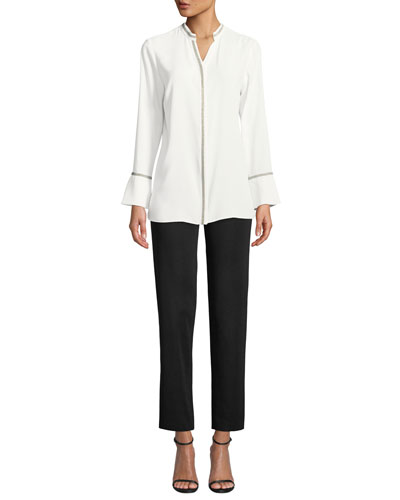 Shimmer-Trim Long-Sleeve Blouse and Matching Items