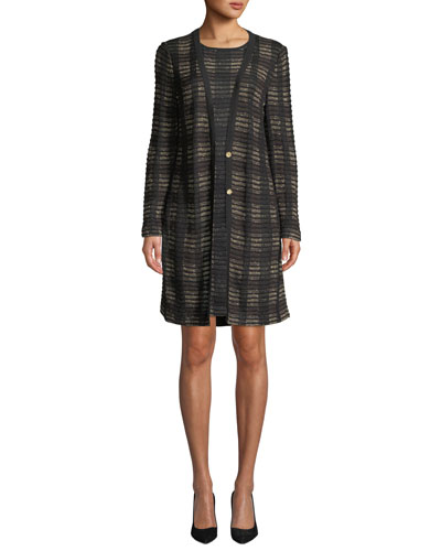 Plaid 2-Button Long Knit Jacket, Plus Size and Matching Items