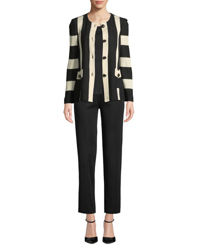 Striped Button-Front Jacket  and Matching Items