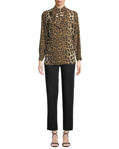 Tie-Neck Leopard-Print Blouse and Matching Items