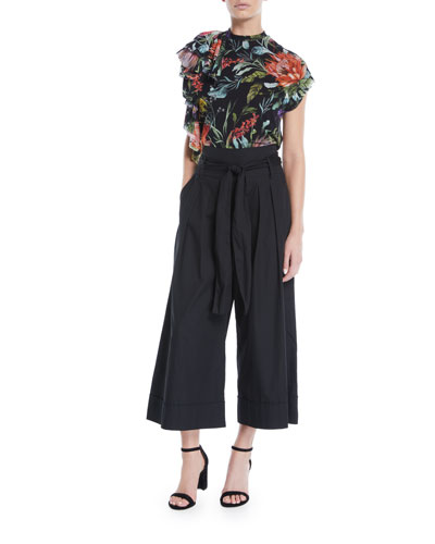 Botanical Floral-Print Short-Sleeve Top  and Matching Items
