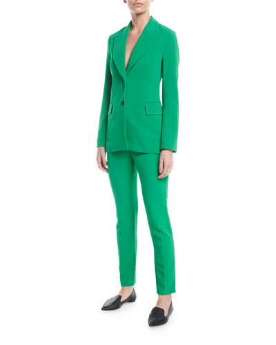 Peak-Lapel Two-Button Stretch-Cady Jacket  and Matching Items