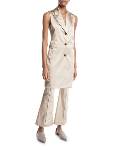 Peak-Lapel 3-Button Duchess Satin Long Vest and Matching Items