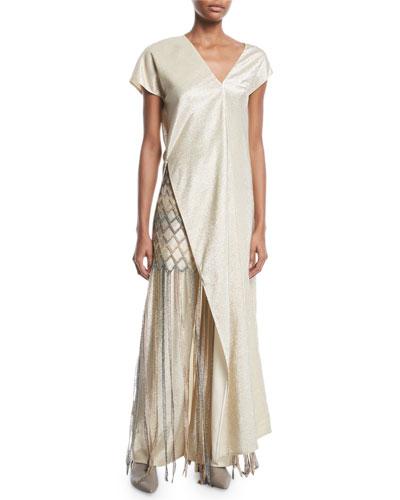 Metallic-Yarn Fringe Mesh Skirt and Matching Items