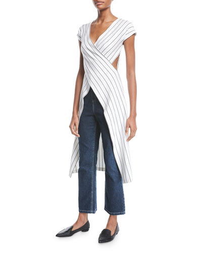 Crossover Cutout-Side Pinstripe Jersey High-Low Top and Matching Items