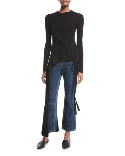 Crewneck Long-Sleeve Split-Apron Jersey Top and Matching Items