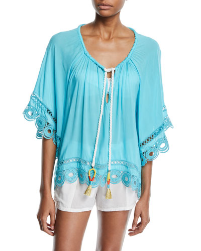 Dimitri Tie-Front Embroidered Tunic and Matching Items