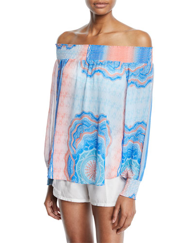 Augustine Printed Off-the-Shoulder Printed Textured Coverup and Matching Items