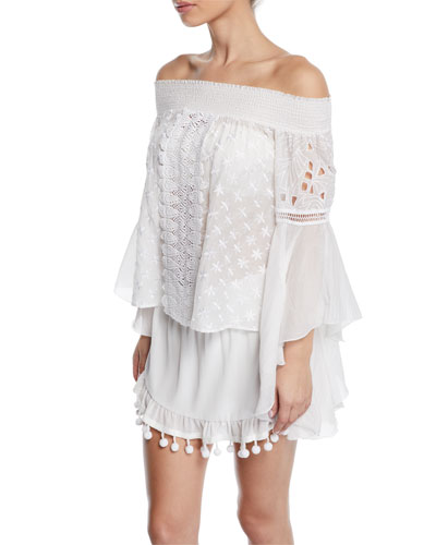 Elsie Embroidered Long-Sleeve Coverup Top and Matching Items