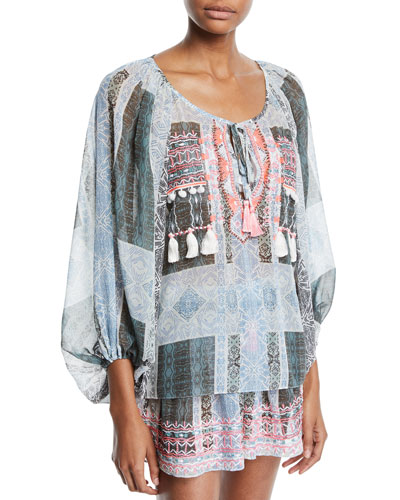Myra Embroidered Coverup Blouse with Tassels and Matching Items
