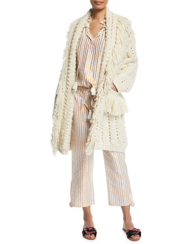 Mila Chunky-Crochet Fringed Open-Front Cardigan and Matching Items