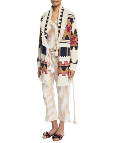 Tala Chunky Intarsia Fringe-Trim Belted Cardigan and Matching Items