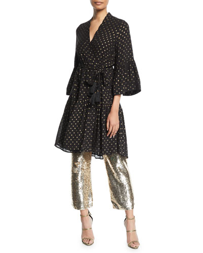 Caroline Metallic Dot Kimono-Style Dress and Matching Items