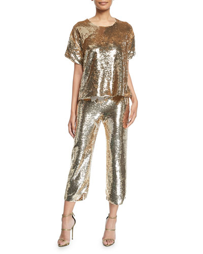 Layla Short-Sleeve Sequin Blouse and Matching Items