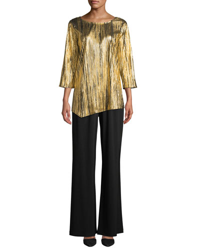 Gilt Trip Plisse 3/4-Sleeve Angle Top and Matching Items