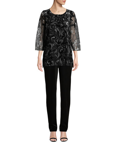 Velvet Lace 3/4-Sleeve Tunic  and Matching Items