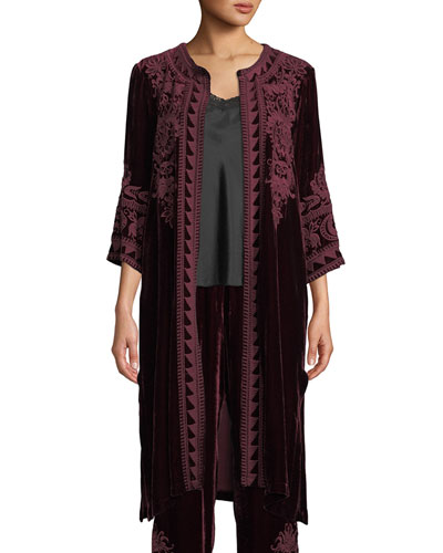 Hirsch Embroidered Velvet Midi Coat  and Matching Items