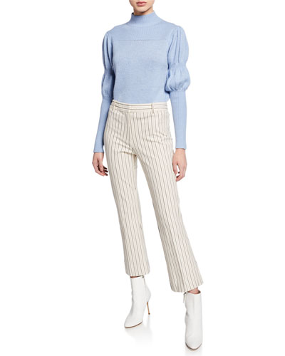 High-Neck Puff-Sleeve Wool Sweater and Matching Items