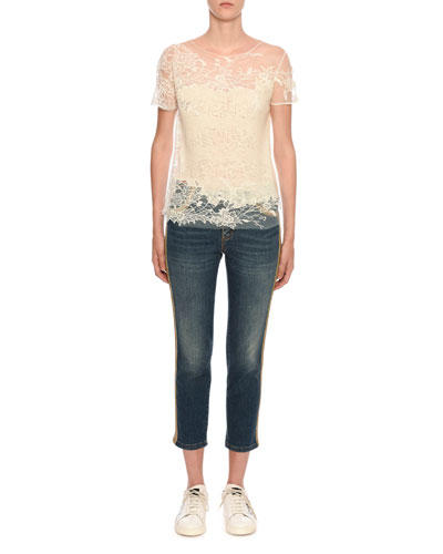 Short-Sleeve Lace-Inset Pashmina Knit Top and Matching Items