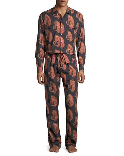 Men's Tiger-Print Lounge Shirt and Matching Items