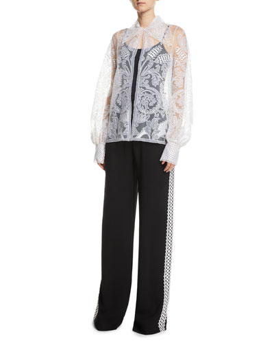 Semisheer Embroidered Button-Front Blouse and Matching Items