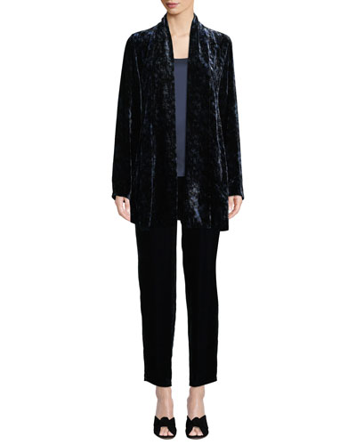 Long Printed Velvet Shawl-Collar Jacket  and Matching Items