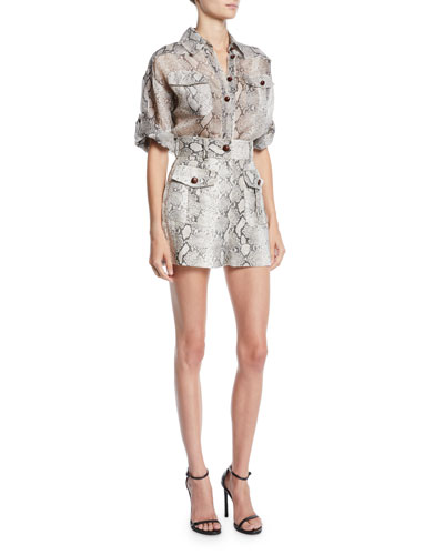 Corsage Safari Snake-Print Button-Front Shirt and Matching Items