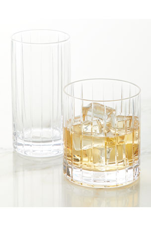 Neiman Marcus Highball Glasses, Set of 4 Double Old-Fashioned Glasses, Set of 4