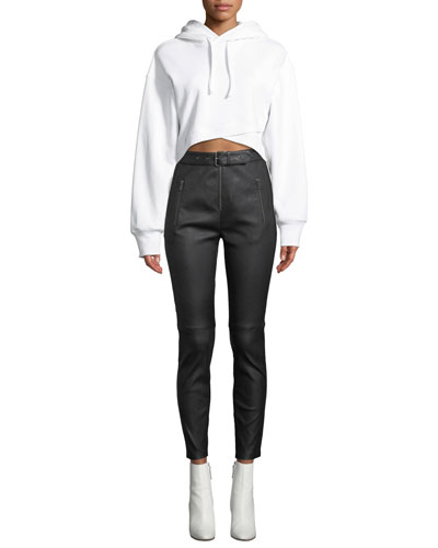 Jenna Hooded Cropped Cross-Front Sweatshirt and Matching Items