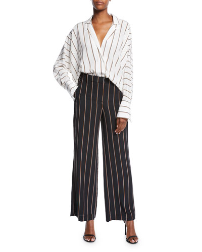 Noreen Striped Long-Sleeve Silk Top and Matching Items