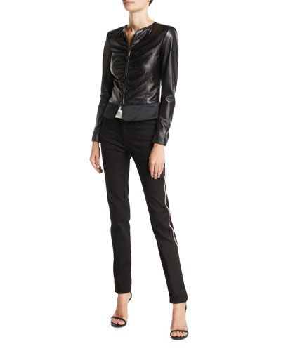 Black Ruched Leather Slim Zi and Matching Items