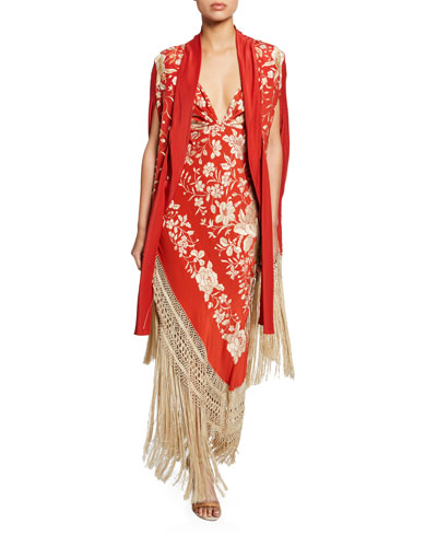 Embroidered Fringe-Bottom  and Matching Items