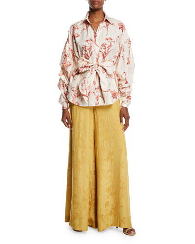 Pouf Long-Sleeve Lily-Print Cotton Poplin Shirt and Matching Items